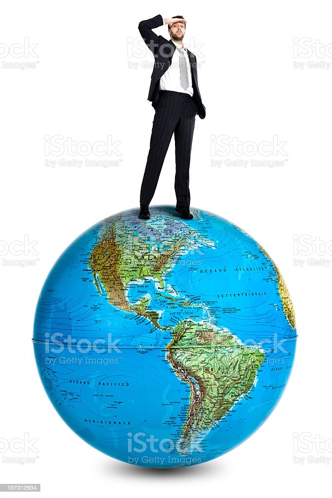 business man succes s over the global finance royalty-free stock photo