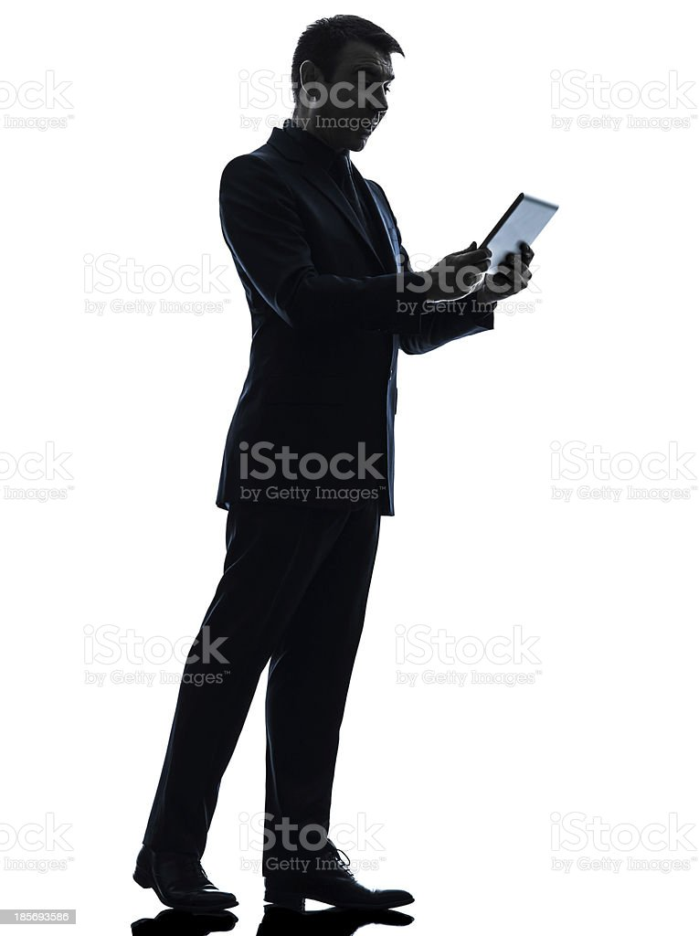 business man surprised digital tablet silhouette royalty-free stock photo