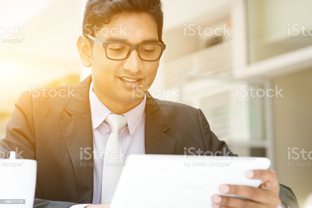 Business man, tablet pc and coffee stock photo