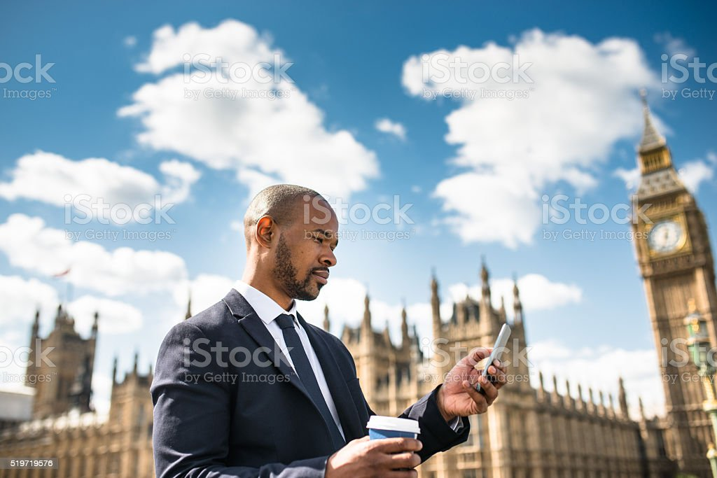 Business man take a selfie at on the big ben stock photo