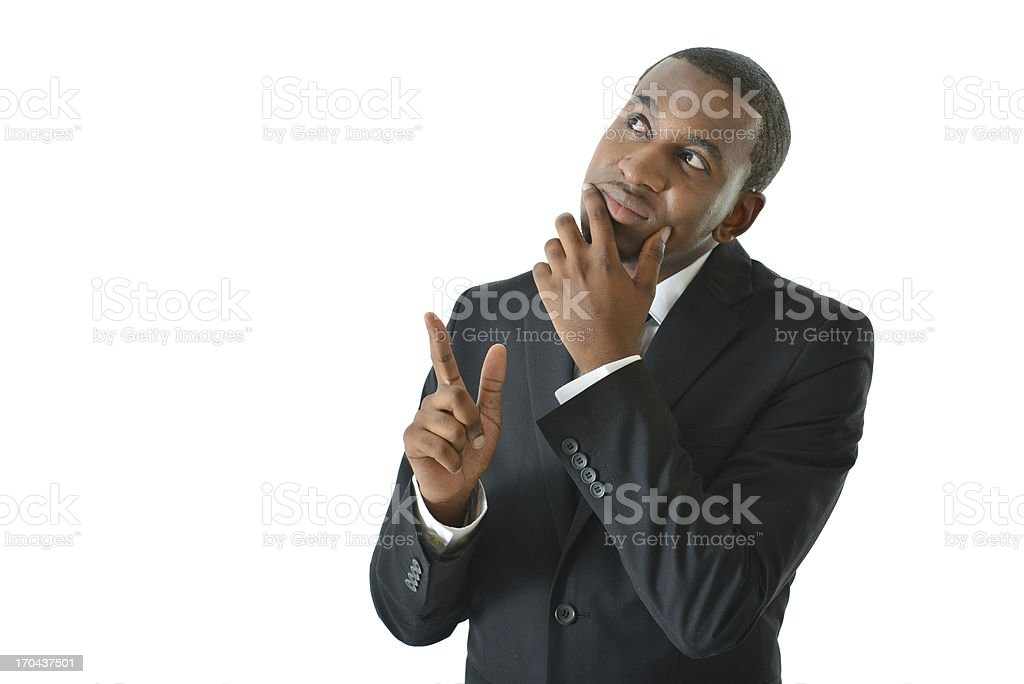 Business Man Thinking and Pointing royalty-free stock photo