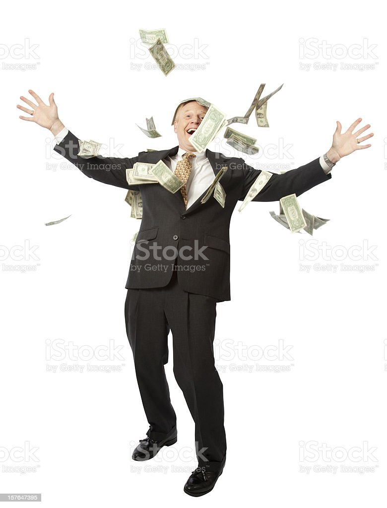 A business man throwing money royalty-free stock photo