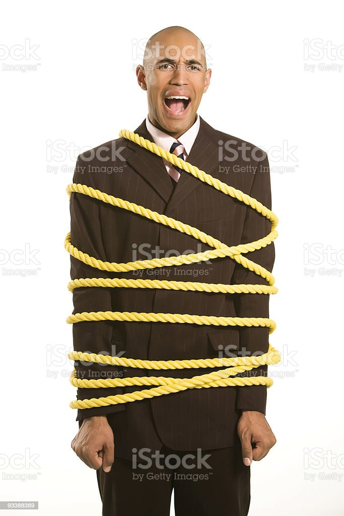 Business man tied up royalty-free stock photo