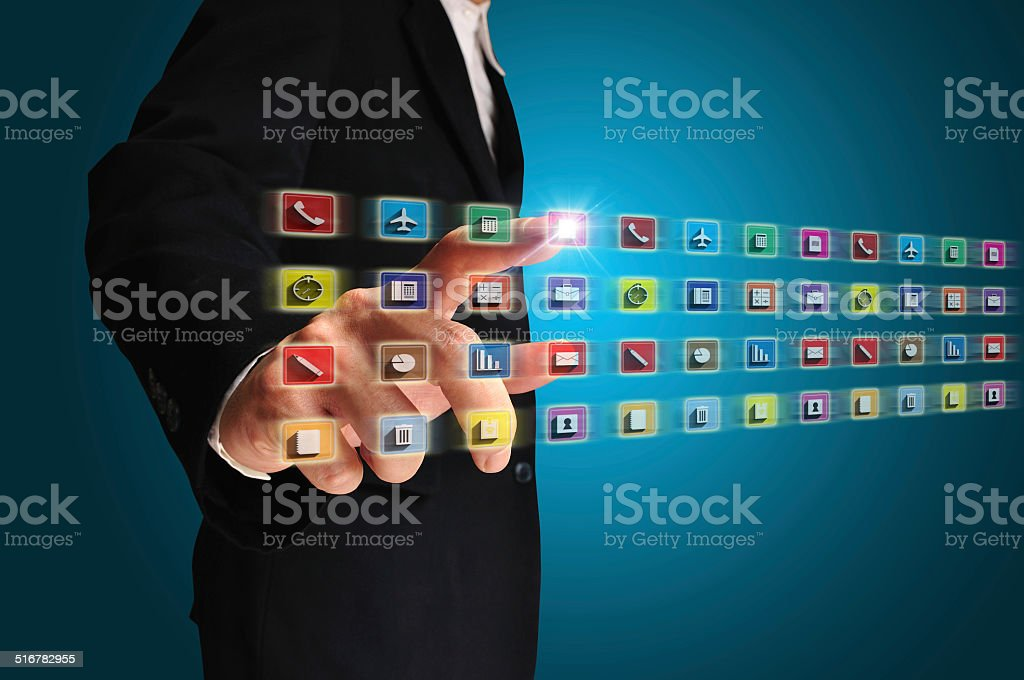 Business man touch Office equipment application icon stock photo