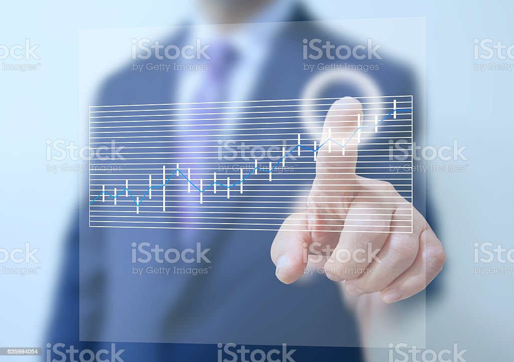 business man touch on screen stock photo