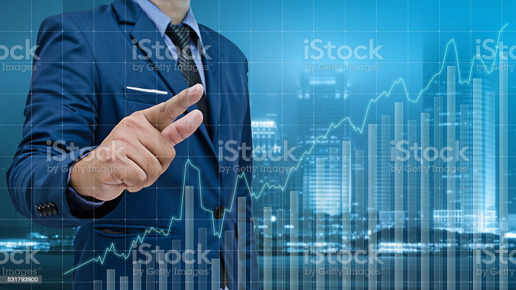 business man touch visual graph on screen stock photo