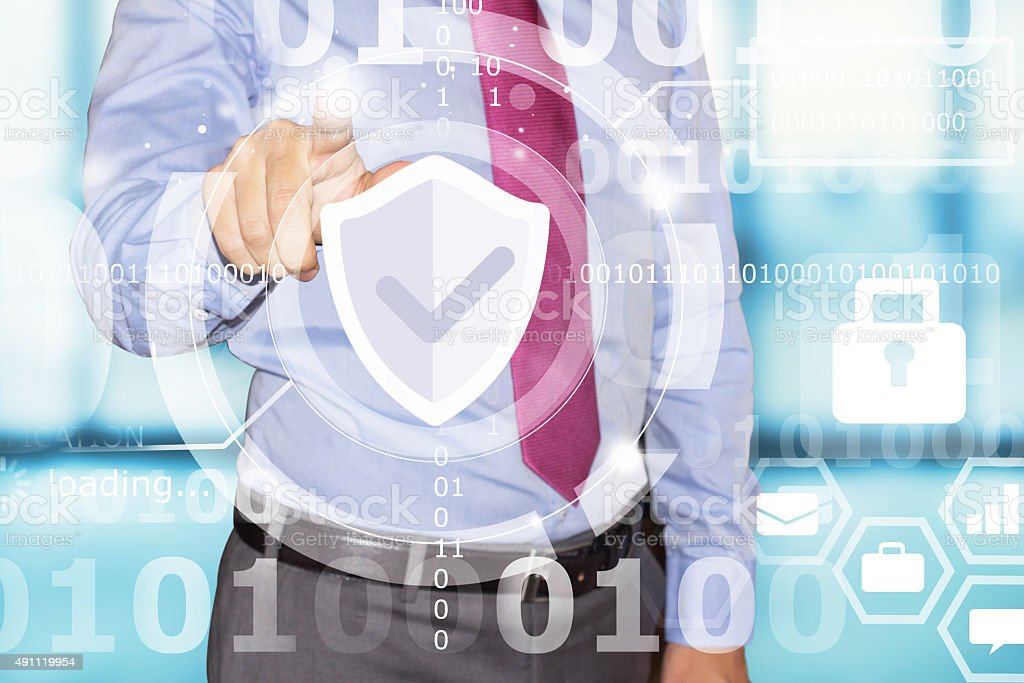 business man touching data security interface stock photo