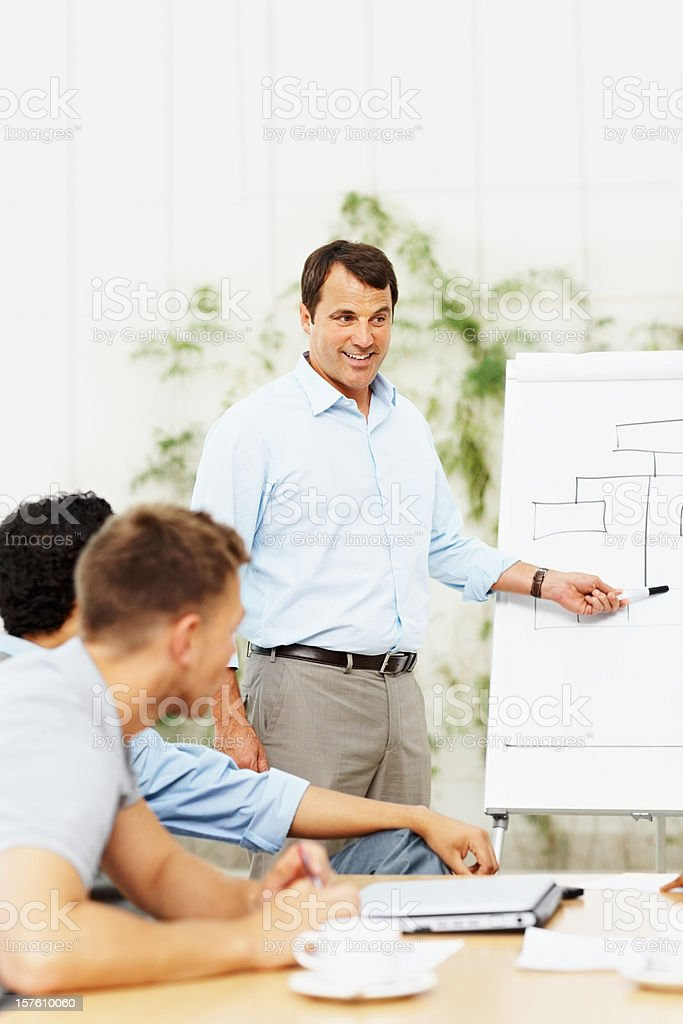 Business man training his team on a new project royalty-free stock photo