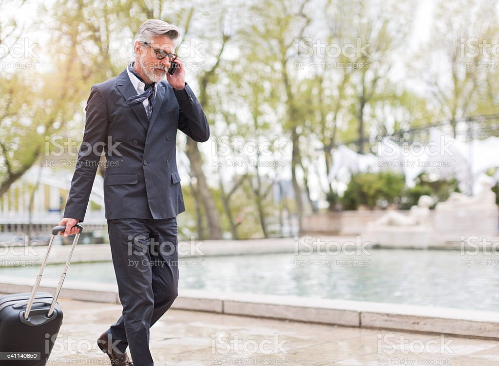 Business man traveling with trolley in Paris stock photo