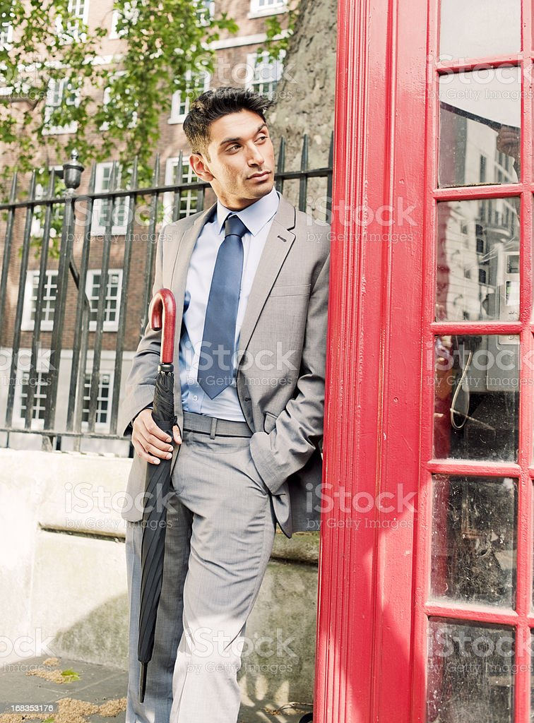 Business Man, Typical British Phone Booth stock photo