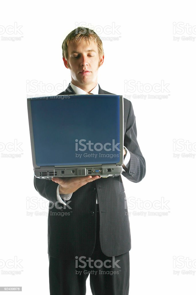 Business man - typing stock photo
