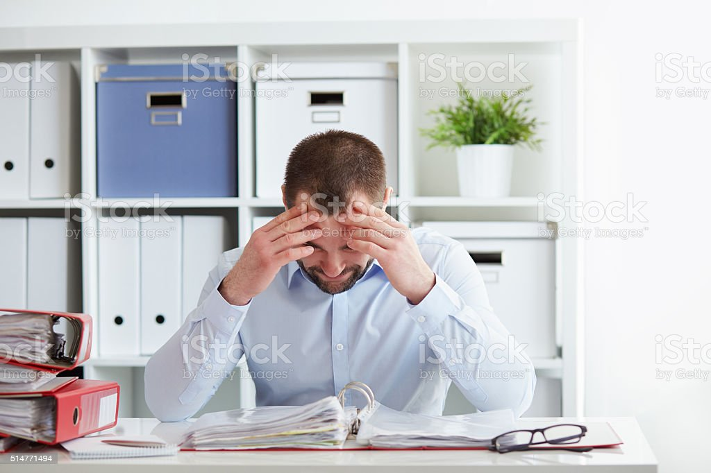 Business man under stress stock photo