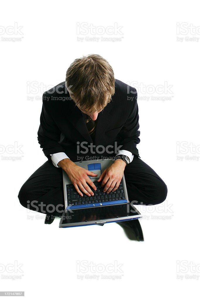 Business man using a laptop royalty-free stock photo