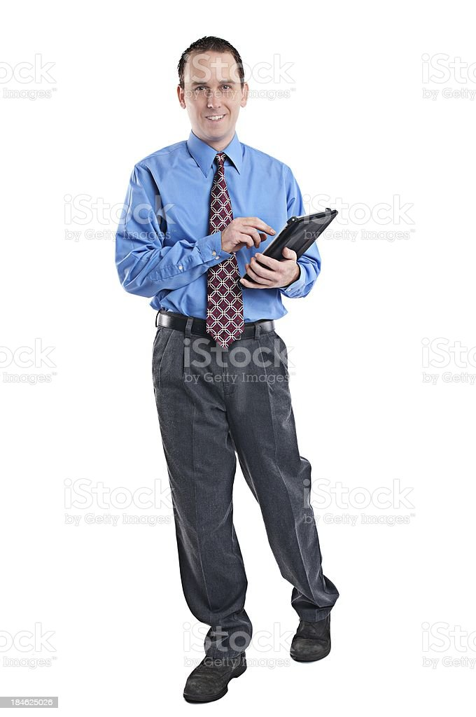 Business man using his tablet computer royalty-free stock photo