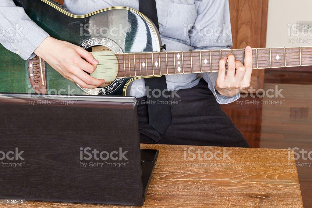 business man using laptop computer stock photo