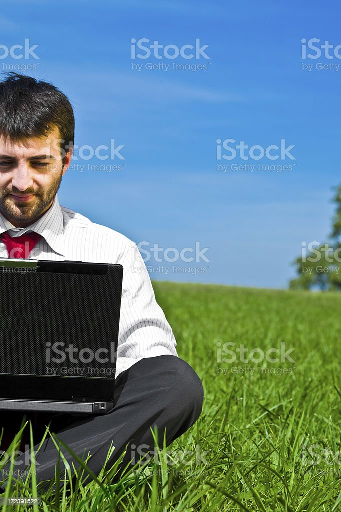 business man using laptop in the field royalty-free stock photo