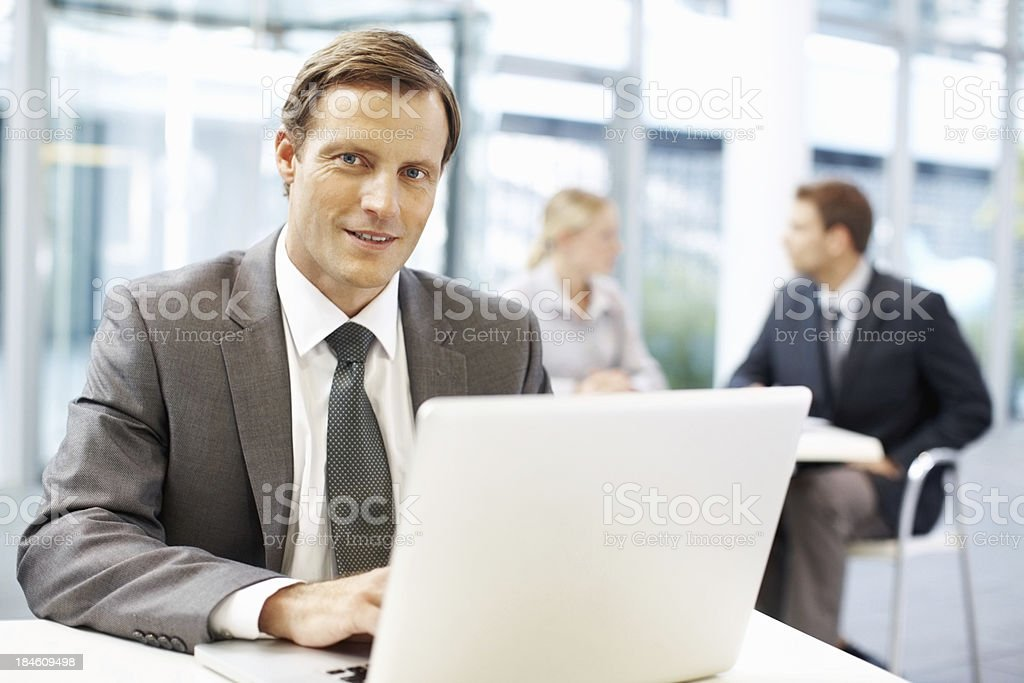 Business man using laptop royalty-free stock photo
