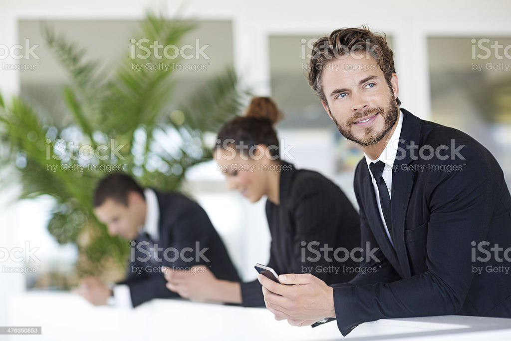 business man using phones royalty-free stock photo