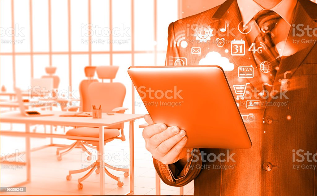 Business man using tablet PC royalty-free stock photo