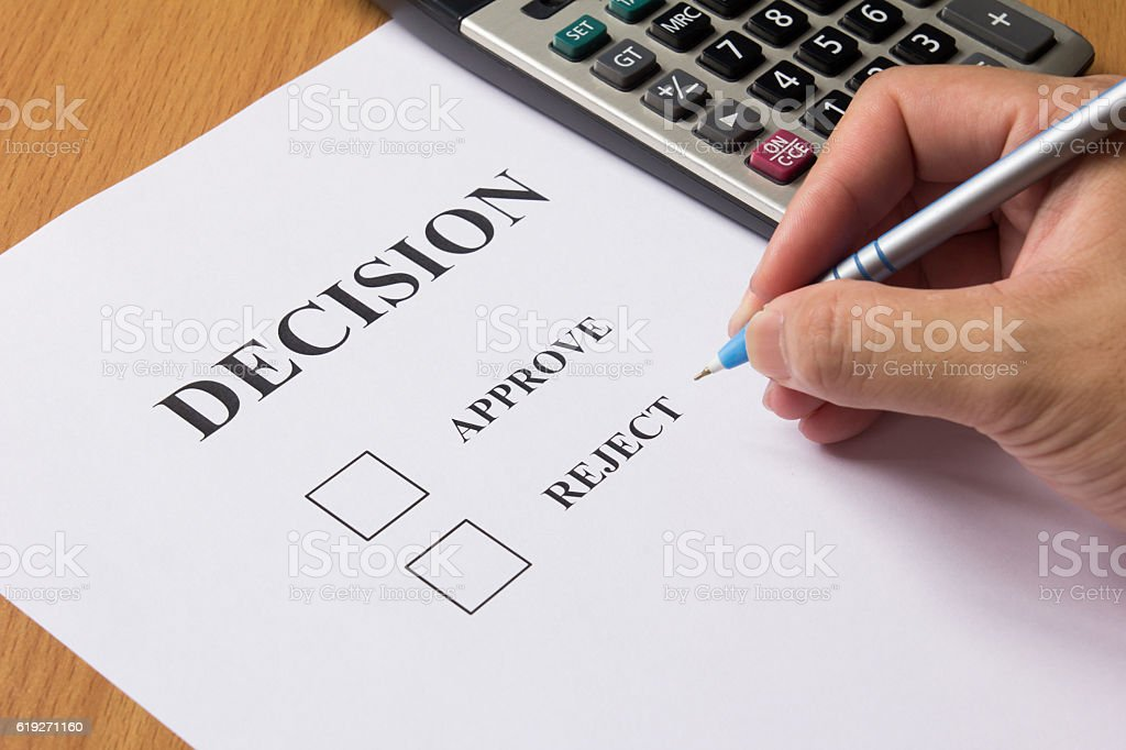 Business man wait for decision for approve or reject stock photo