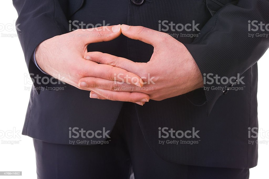 Business man waiting with folded hands. stock photo