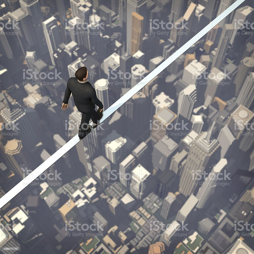 Business man walk on the building stock photo