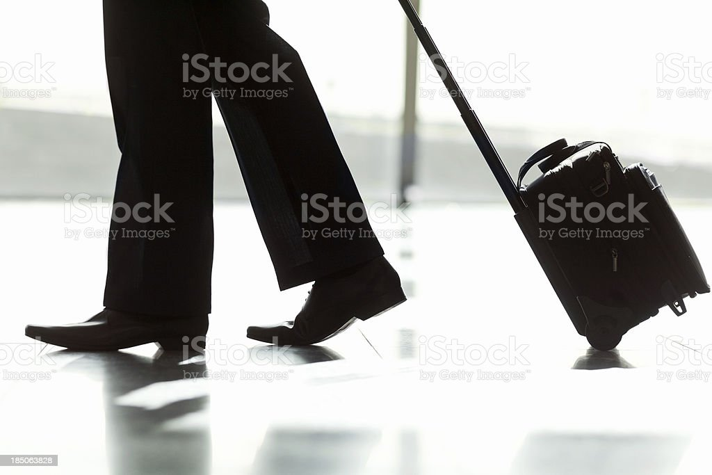 Business Man Walking With His Luggage At Airport stock photo