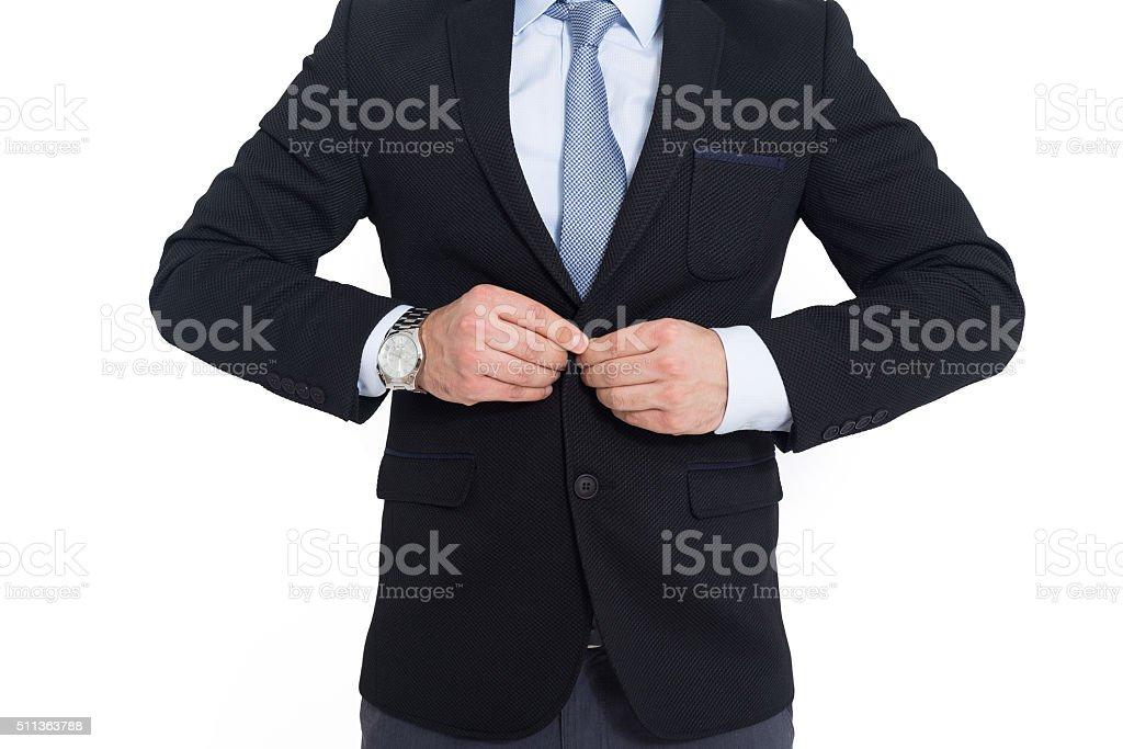 Business man wearing black jacket stock photo
