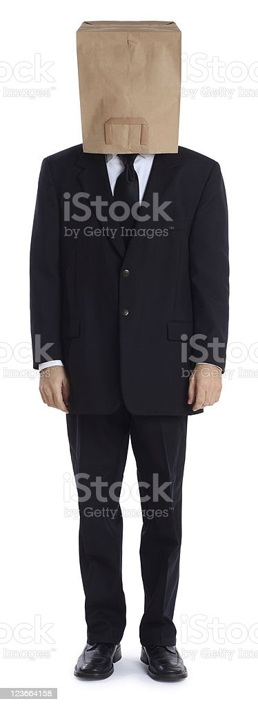 Business Man with a Brown Paper Bag Over his Head royalty-free stock photo