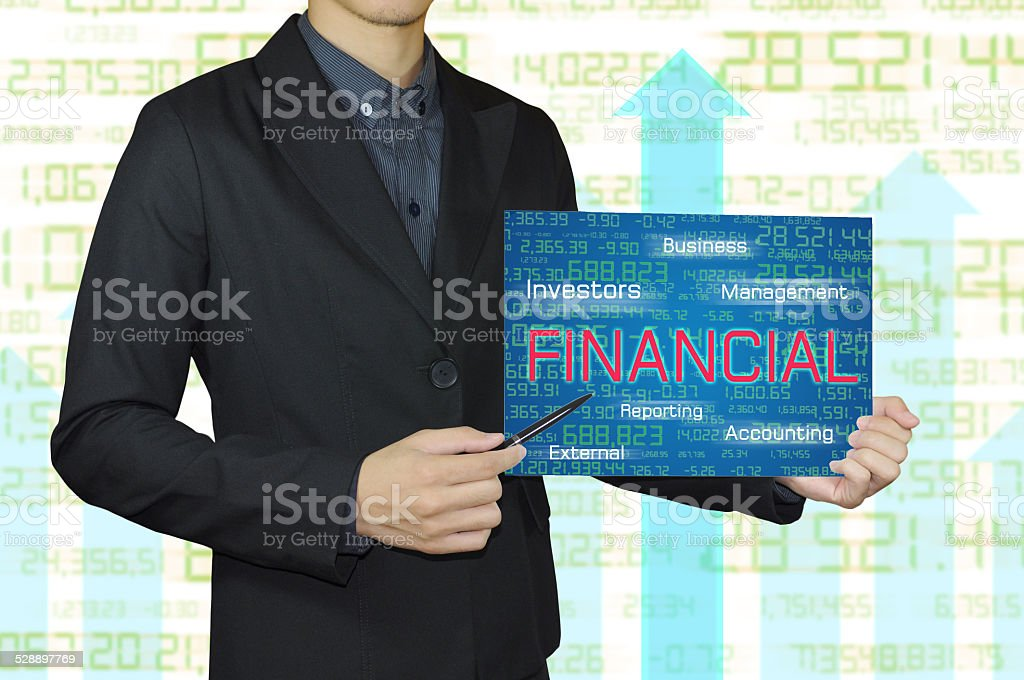 business man with accounting and financial concept. stock photo