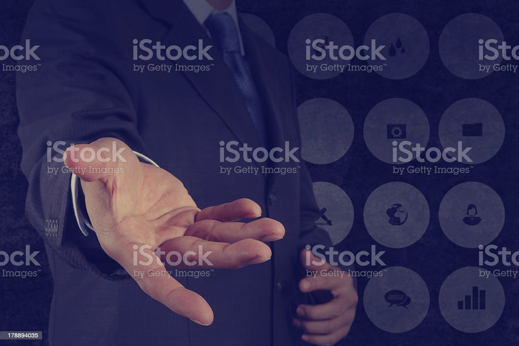 business man with an open hand as showing something concept royalty-free stock photo