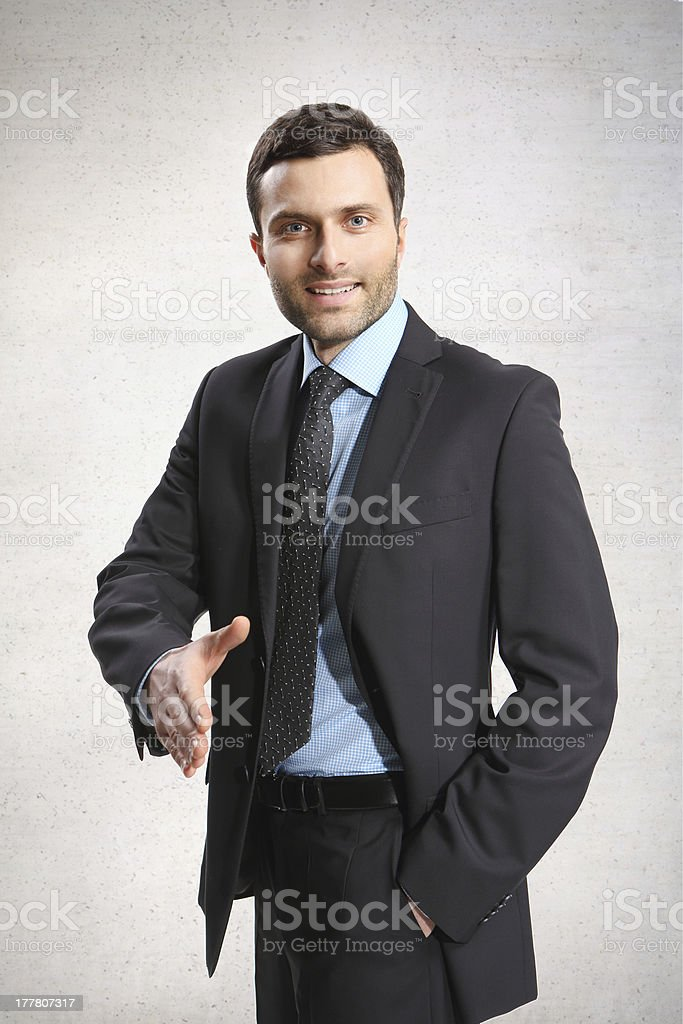 Business man with an open hand. royalty-free stock photo