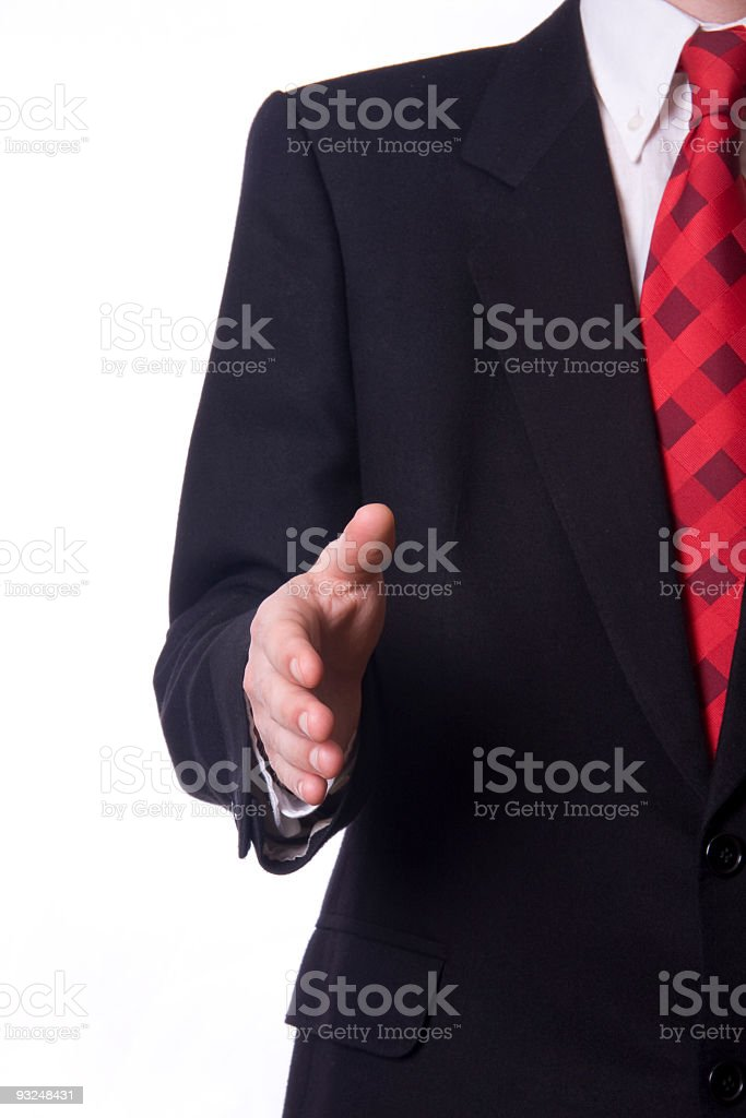 Business man with an open hand royalty-free stock photo