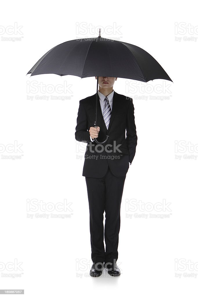 Business Man with an umbrella stock photo