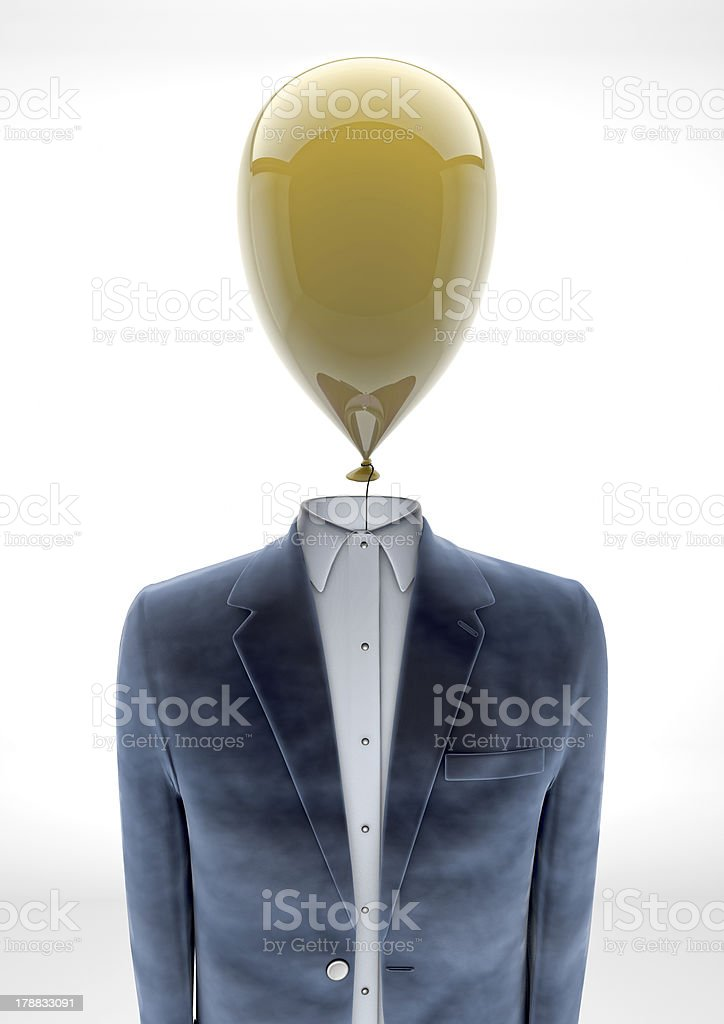 Business man with balloon head royalty-free stock photo