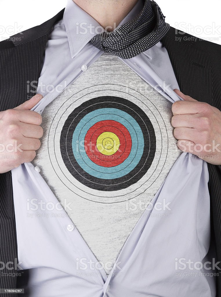 Business man with bullseye sign t-shirt royalty-free stock photo