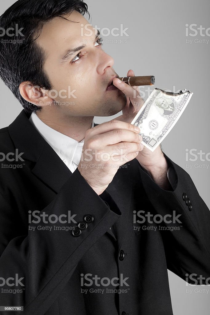 Business Man with Cigar royalty-free stock photo
