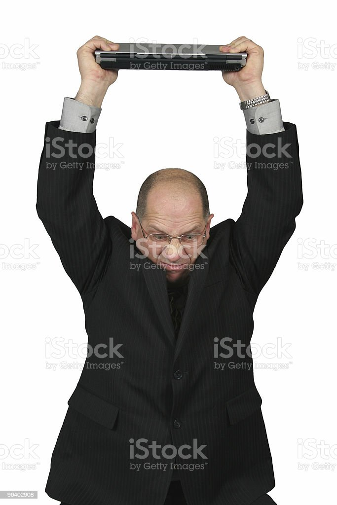 Business Man with Computer over his head stock photo