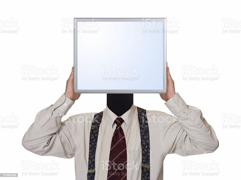 Business man with computer screen for head royalty-free stock photo