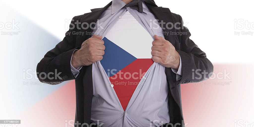 Business man with Czechian flag t-shirt royalty-free stock photo