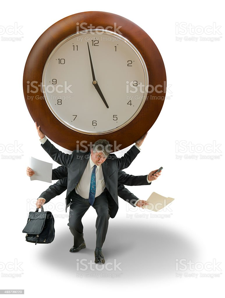 Business man with giant clock on shoulders time deadline pressure stock photo