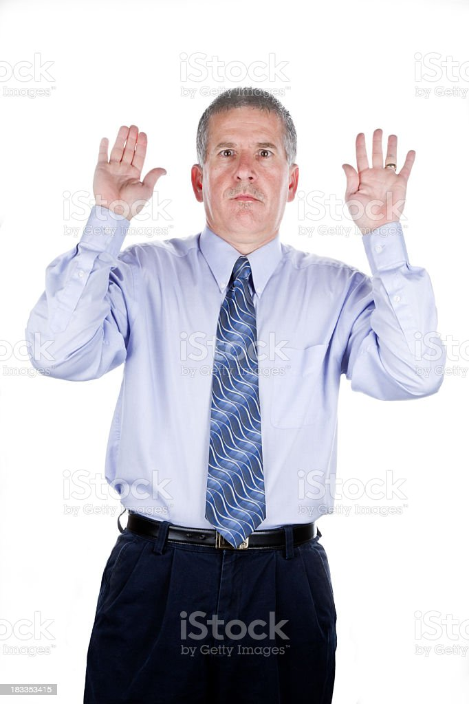 Business Man with Hands Up stock photo