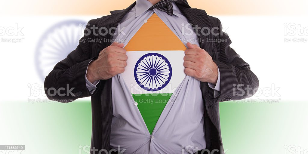 Business man with Indian flag t-shirt royalty-free stock photo