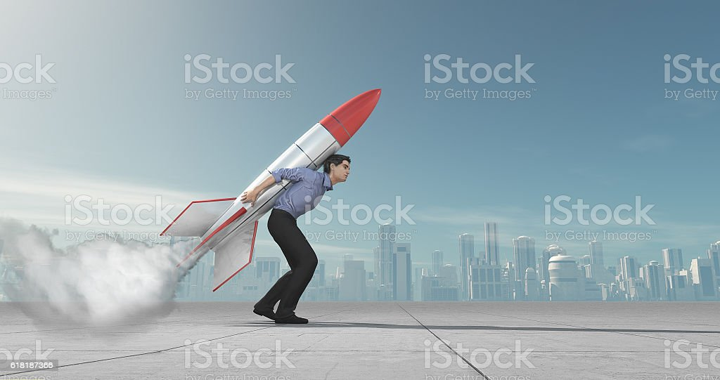 Business man with jet pack rocket stock photo