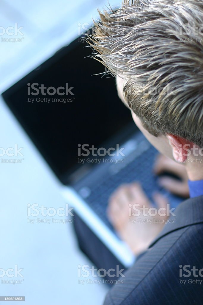 Business man with laptop royalty-free stock photo
