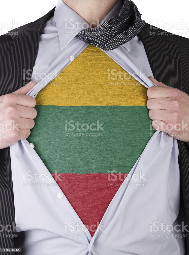 Business man with Lithuanian flag t-shirt stock photo
