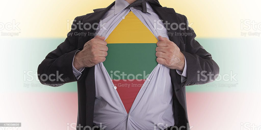 Business man with Lithuanian flag t-shirt royalty-free stock photo
