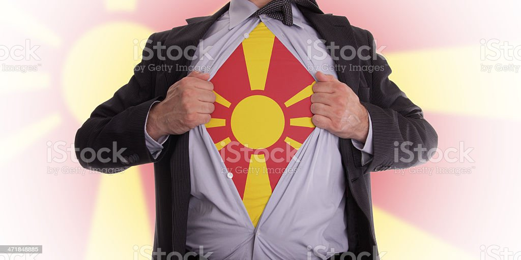 Business man with Macedonian flag t-shirt royalty-free stock photo