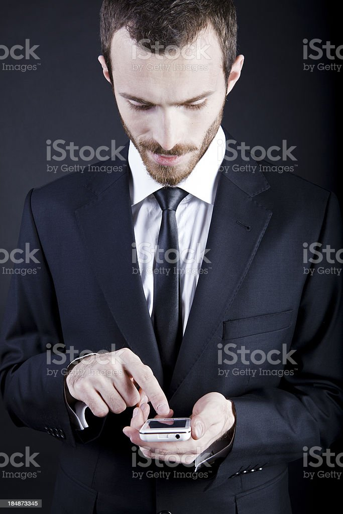 Business man with mobile phone royalty-free stock photo