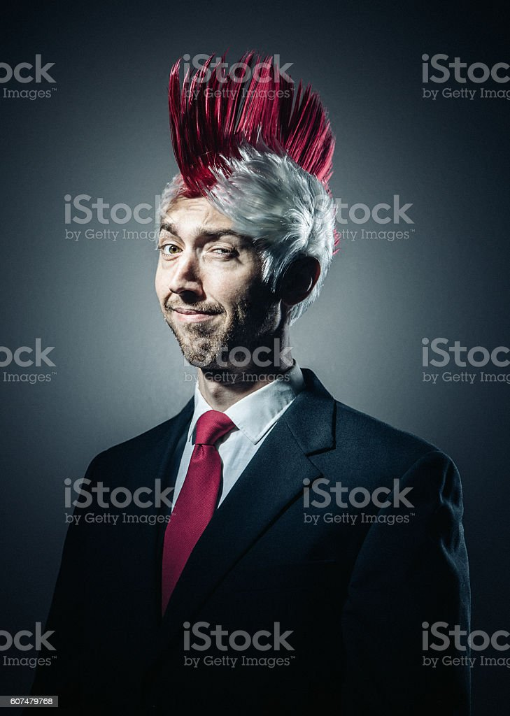 Business Man with Mohawk stock photo